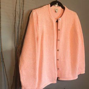 L.L. Bean Pink Knit Button up Cardigan